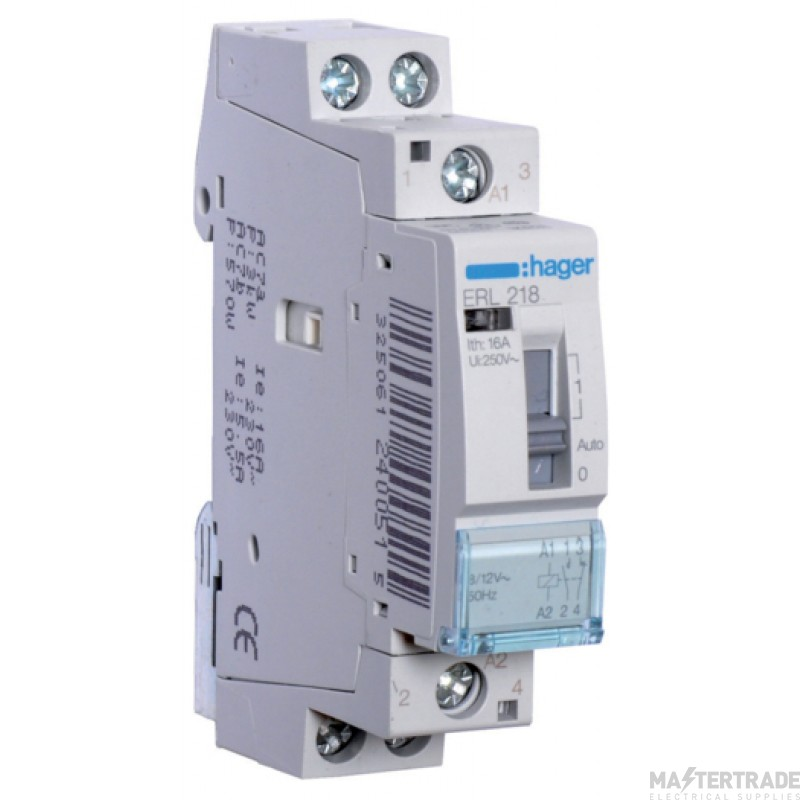 Hager ERL218 Relay 1NO+1NC 16A 8/12V