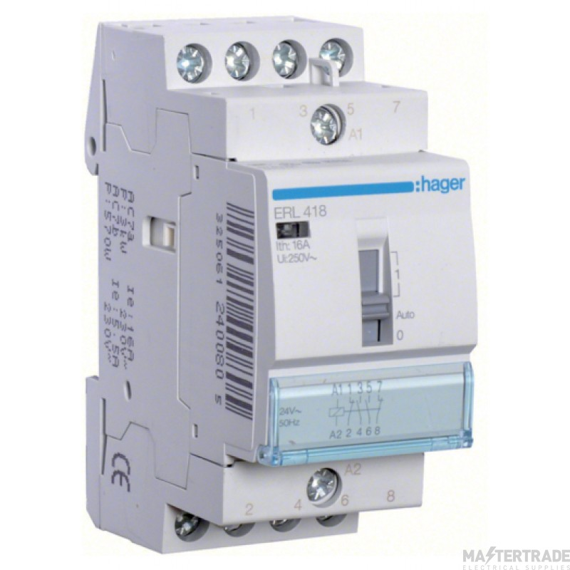 Hager ERL418 Relay 2NO+2NC 16A 8/12V