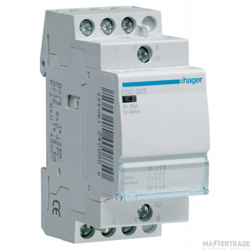 Hager ESC325 Contactor 3NO 25A 230V