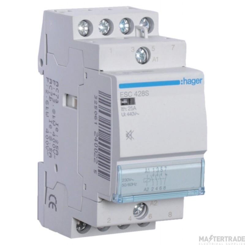 Hager ESC428S Contactor 3NO+1NC 25A 230V