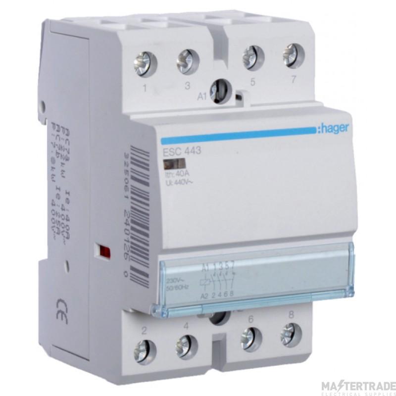 Hager ESC443 Contactor 3NO+1NC 40A 230V