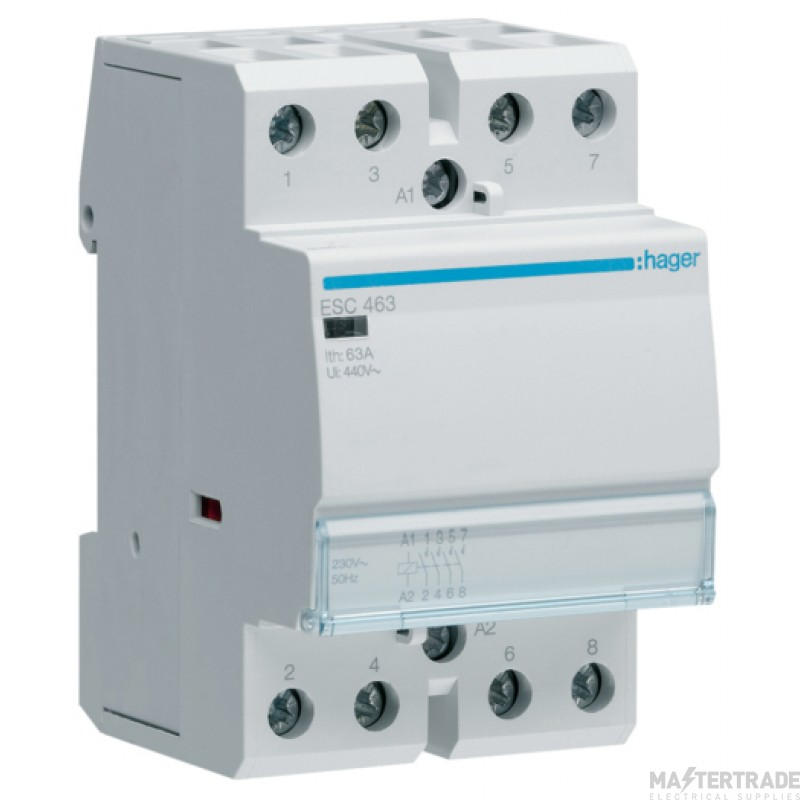 Hager ESC463 Contactor 4NO 63A 230V