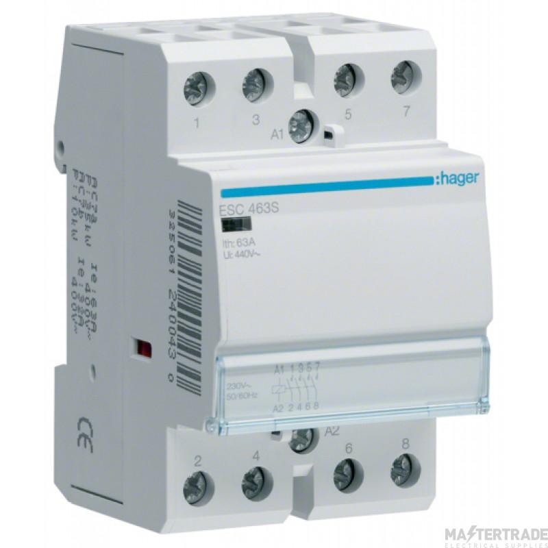 Hager ESC463S Contactor 4NO 63A 230V