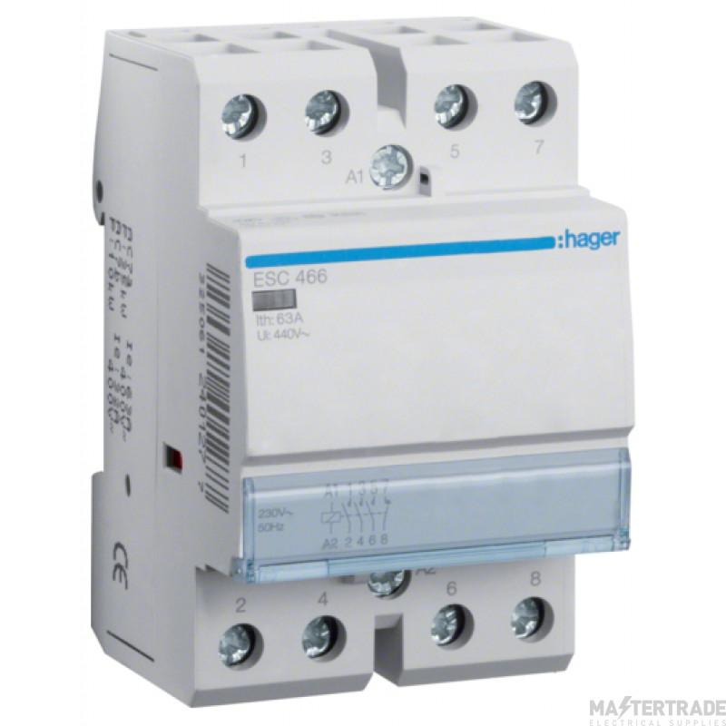 Hager ESC466 Contactor 3NO+1NC 63A 230V