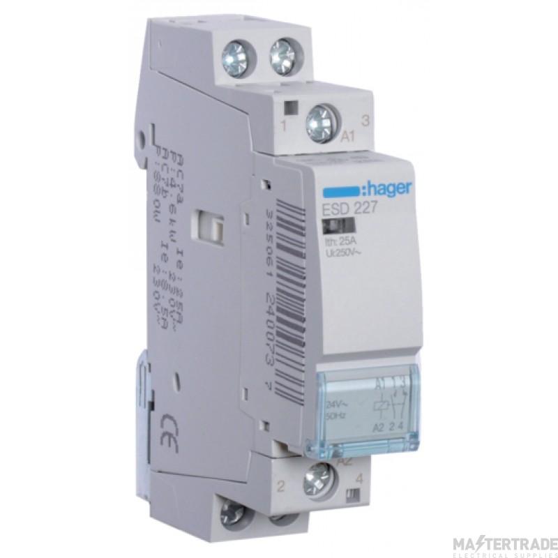 Hager ESD227 Contactor 1NO+1NC 25A 24V