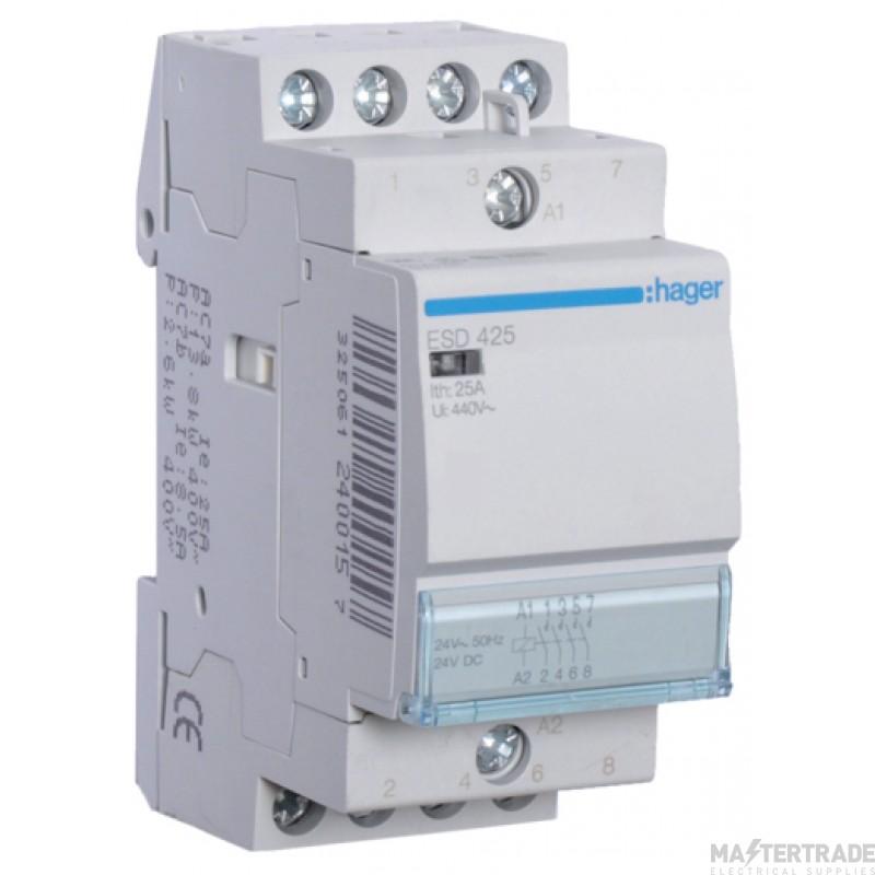 Hager ESD425 Contactor 4NO 25A 24V