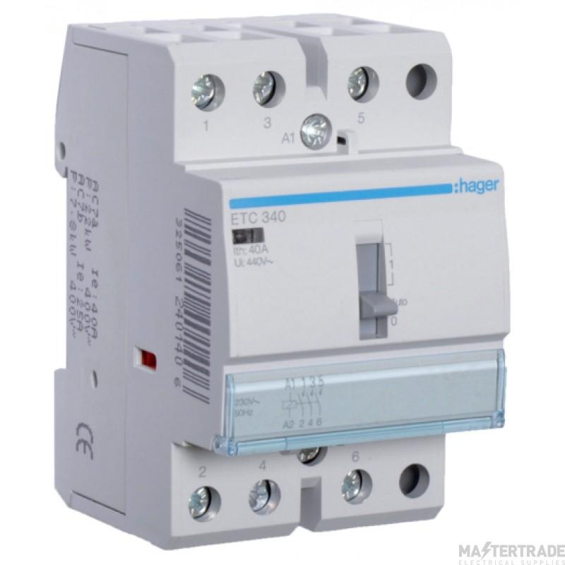 Hager ETC340 Contactor 3NO 40A 230V