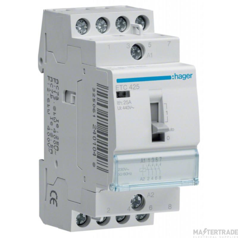 Hager ETC425 Contactor 4NO 25A 230V