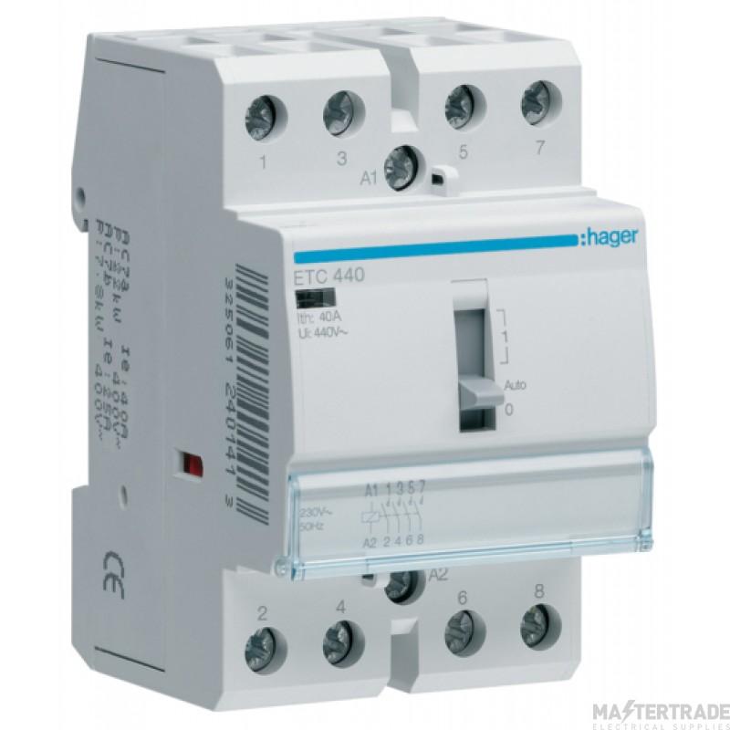 Hager ETC440 Contactor 4NO 40A 230V