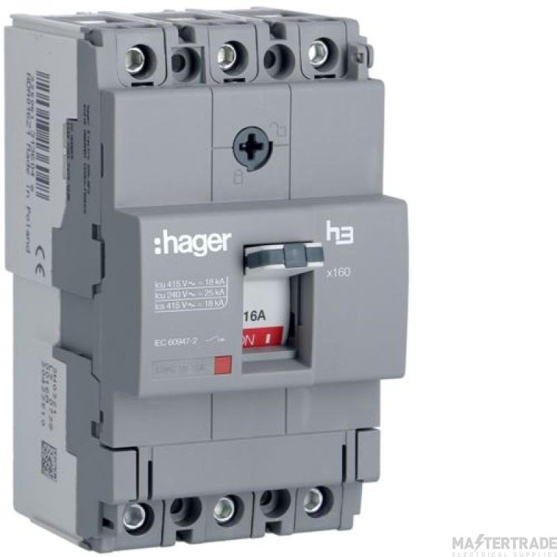 Hager HDA016Z MCCB X160 3P 16A 18kA
