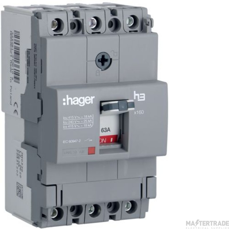 Hager HDA063Z MCCB X160 3P 63A 18kA