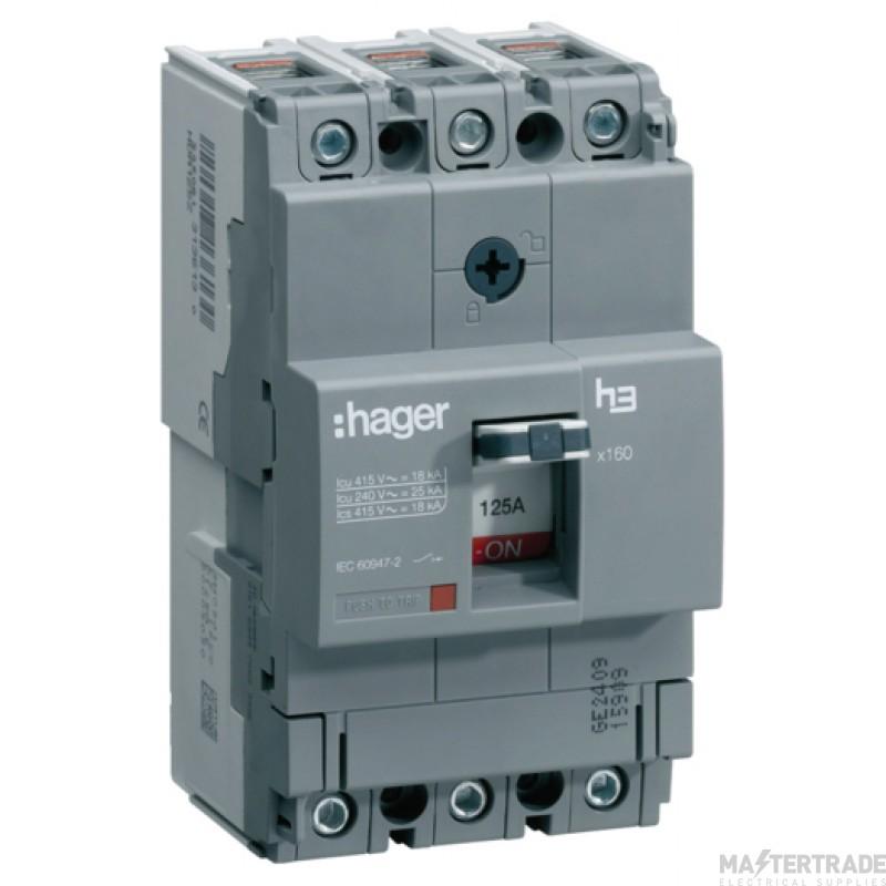 Hager HDA125Z MCCB X160 3P 125A 18kA