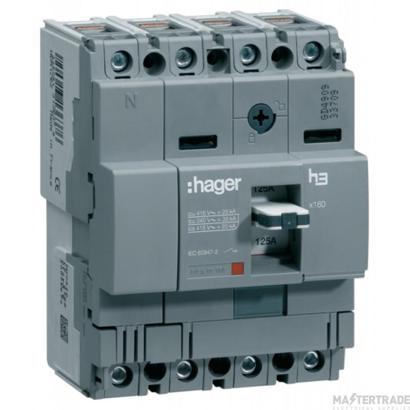 Hager HDA126Z MCCB X160 4P 125A 18kA