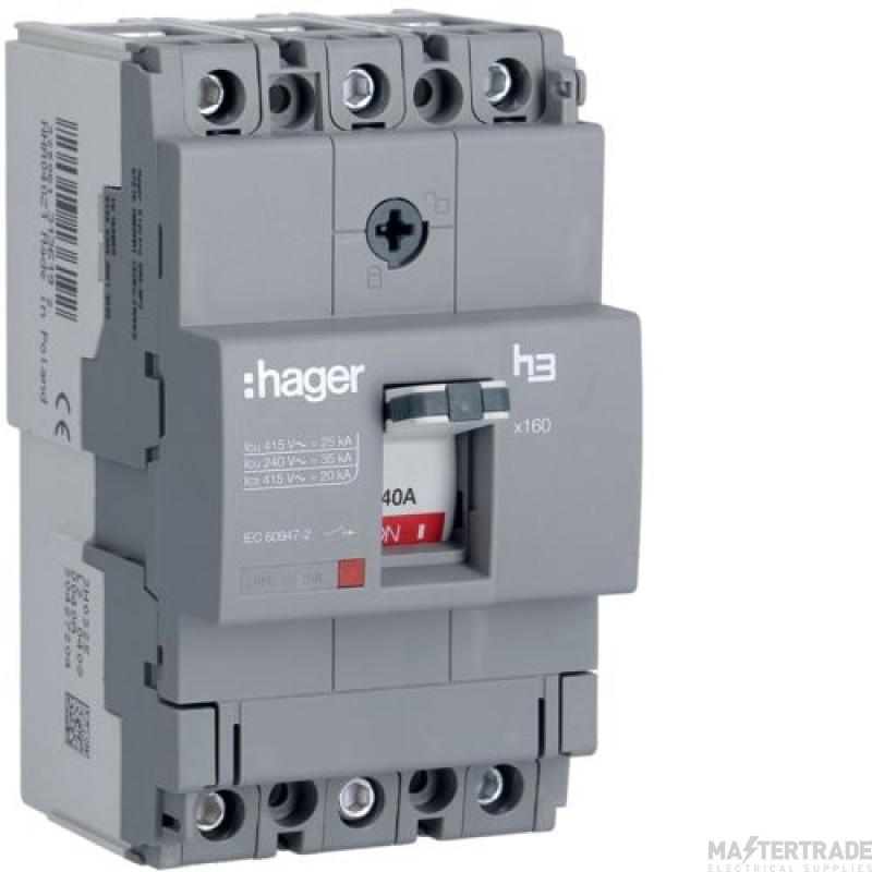 Hager HHA040Z MCCB X160 3P 40A 25kA