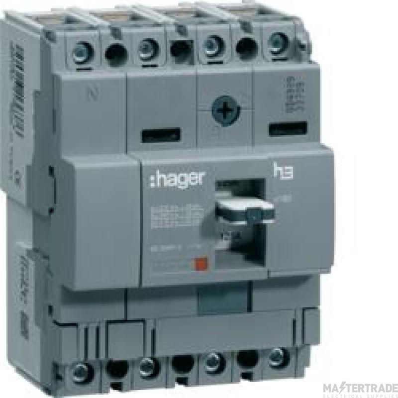 Hager HHA101Z MCCB X160 4P 100A 25kA