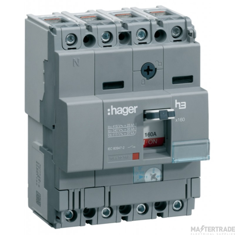 Hager HHA161U MCCB X160 4P 160A 25kA