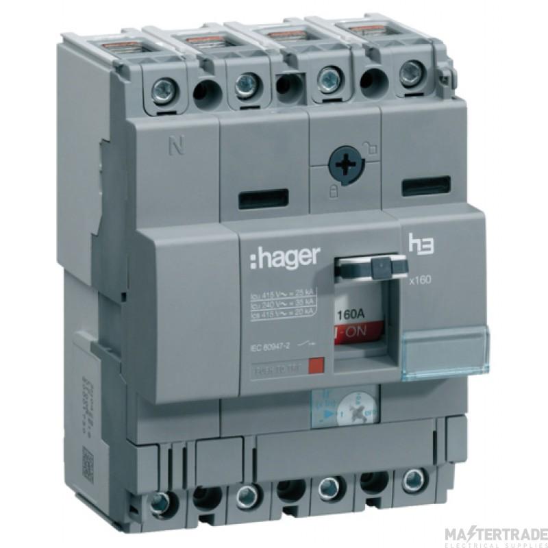 Hager X160 4P MCCB 125A 40kA HNA126U