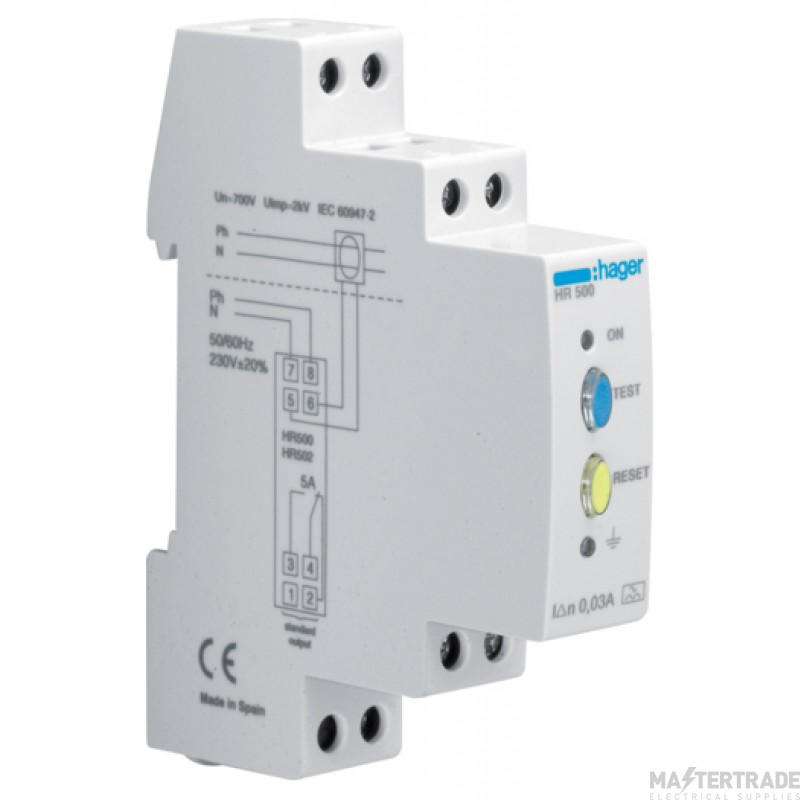 Hager HR500 Earth Leakage Relay 0.03A