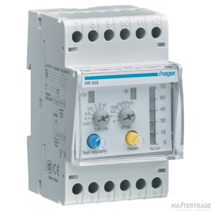 Hager HR522 Earth Leakage Relay 0.03-10A