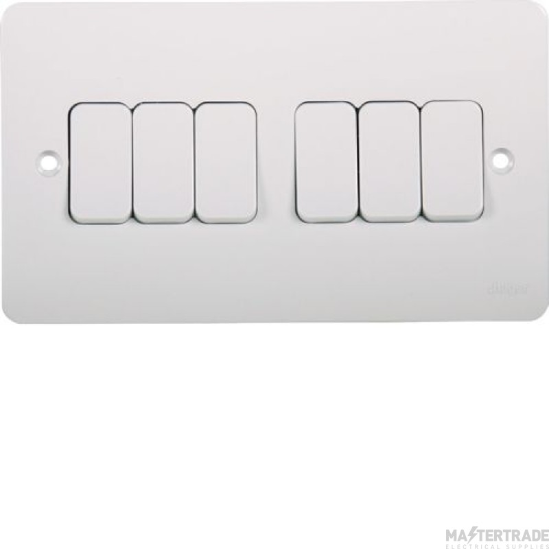 Hager WMPS62 Wall Switch 6G 2Way 10AX