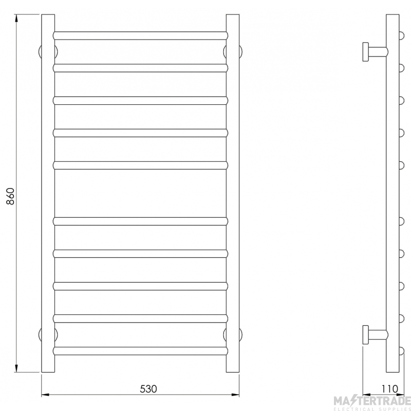 Hyco AQ80LC Ladder Electric Towel Rail Radiator 80W White