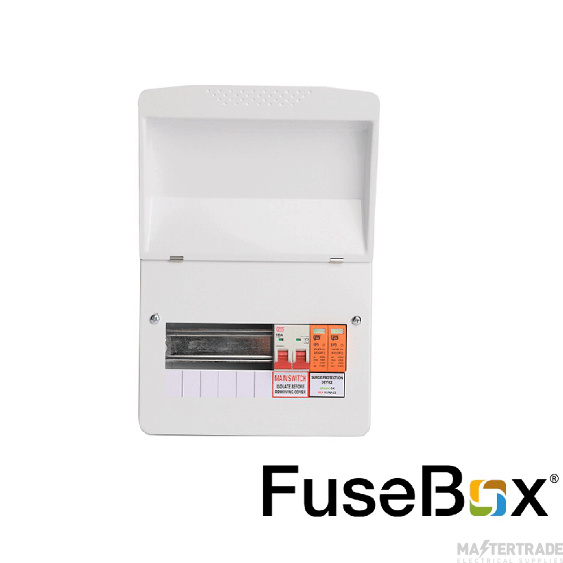 FuseBox Mains Switch Incomer (100A) T2 SPD 6 Way F1006MX C/w Surge (5 Usable Ways)