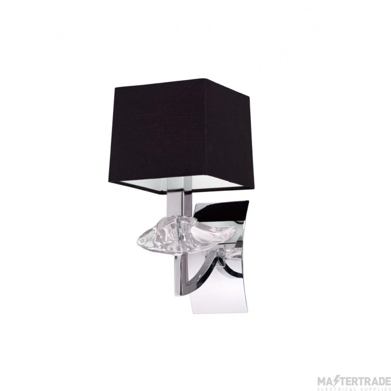 Mantra M0786/S Akira Wall Lamp Switched 1 Light E14, Polished Chrome With Black Shade