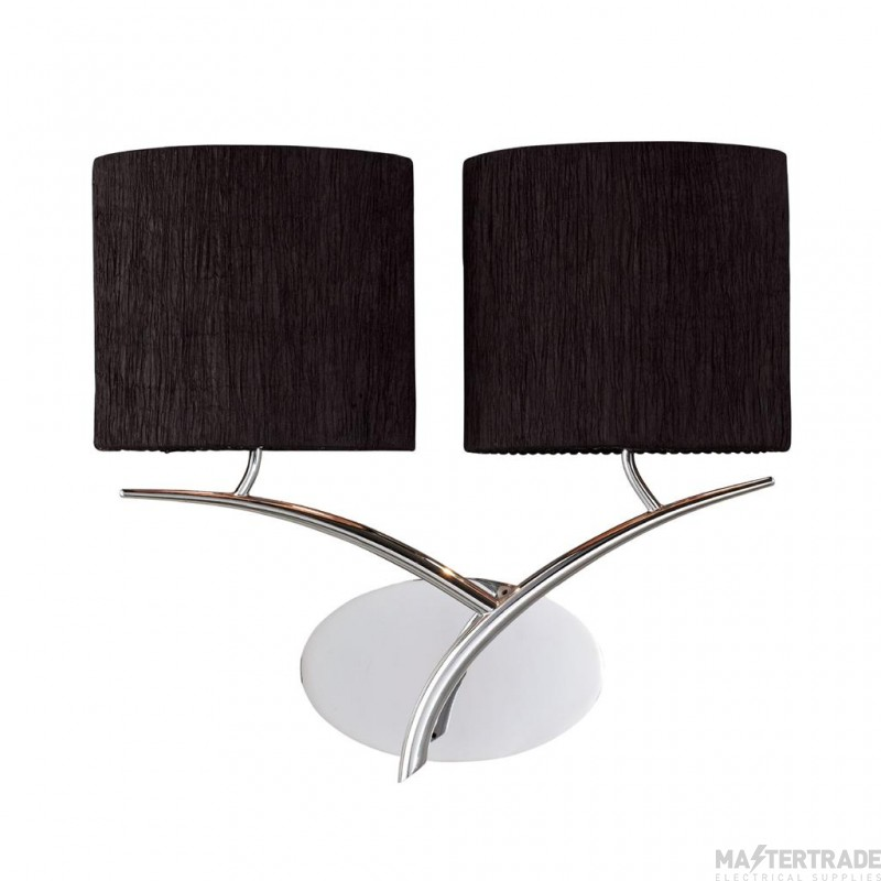 Mantra M1135/S/BS Eve Wall Lamp Switched 2 Light E27, Polished Chrome With Black Oval Shades