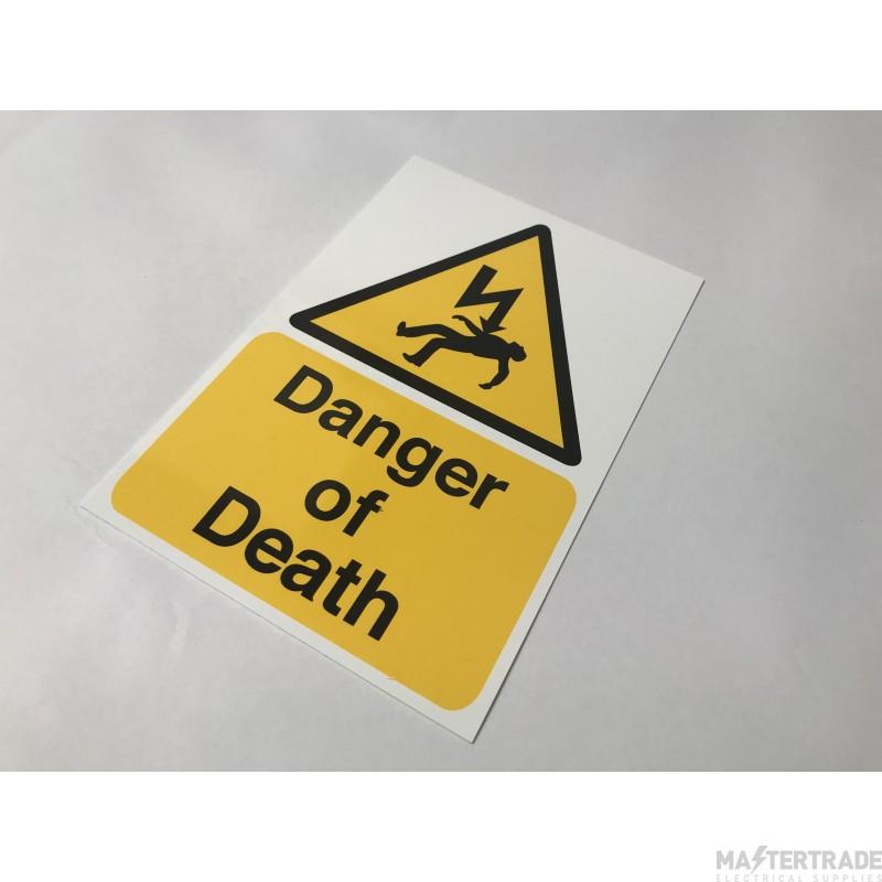 Ind Signs IS1101RP DangerOfDeath Lbl Pk1