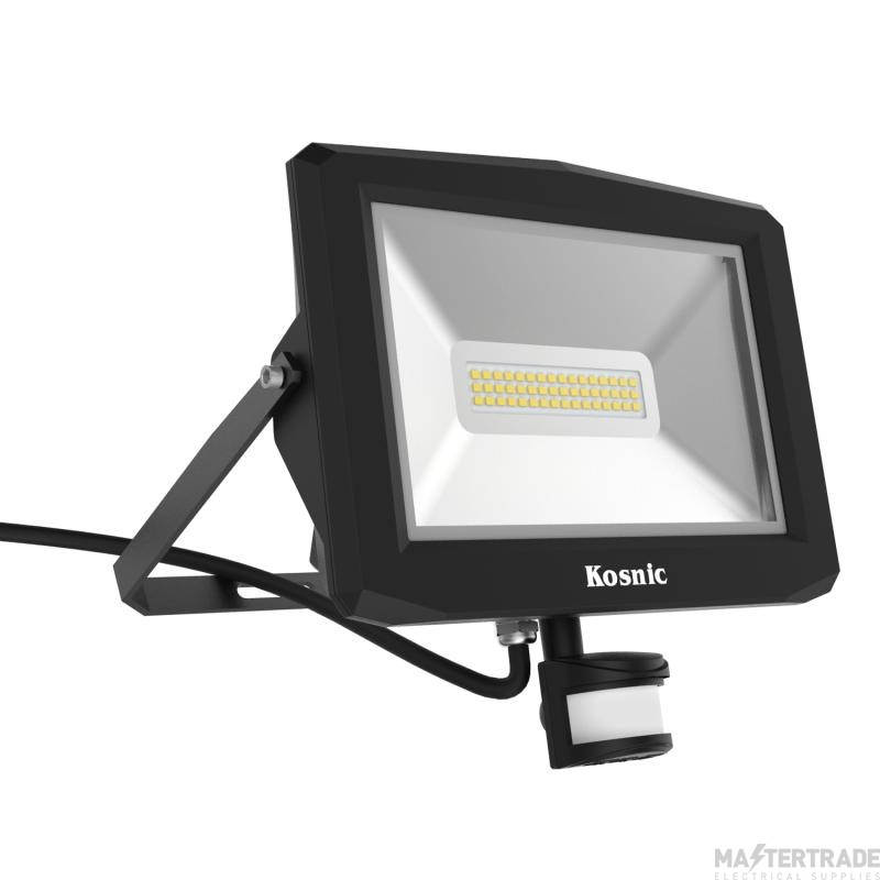 Kosnic PRO Flood Light 30w 6500K with PIR Sensor, Black
