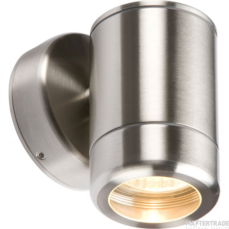 Knightsbridge IP65 Exterior Small Wall Light Fixed with GU10 Lampholder Stainless Steel WALL1
