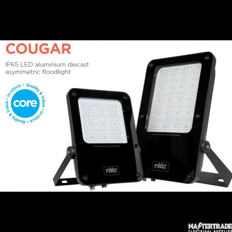 NVC Cougar NCU100/PEC/740 100W Asymmetric LED Floodlight 4000K 10850lm IP65 c/w Photocell