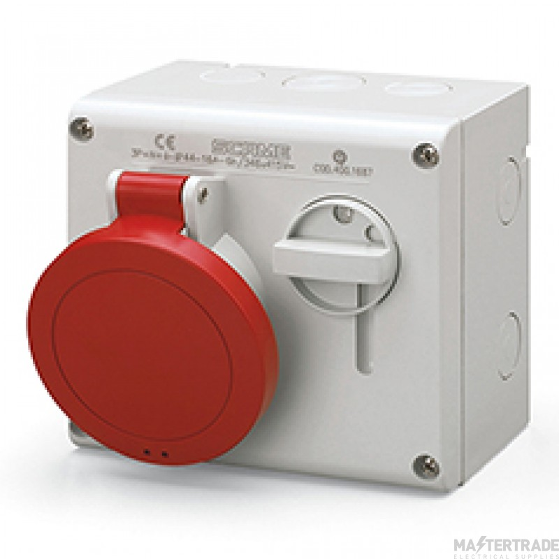 Scame 500.3278 IP44 Switch Interlocked Socket 32A 2P+E 415v Red