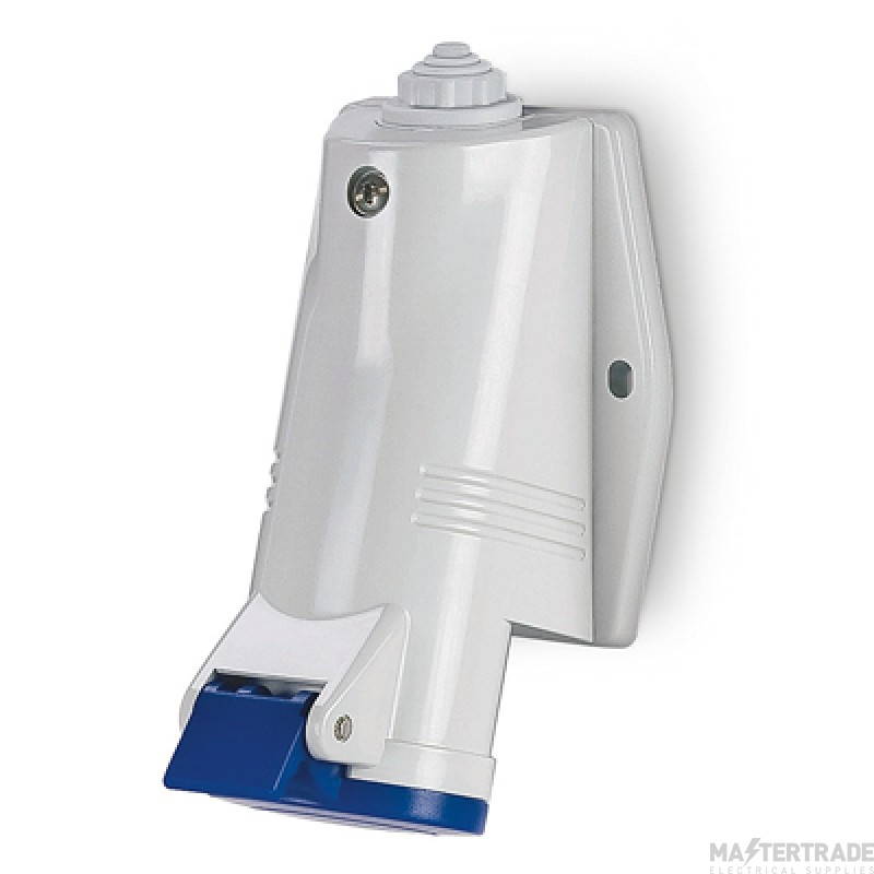 Scame 513.1653 IP44 Angled Industrial Socket 2P+E 16A Blue