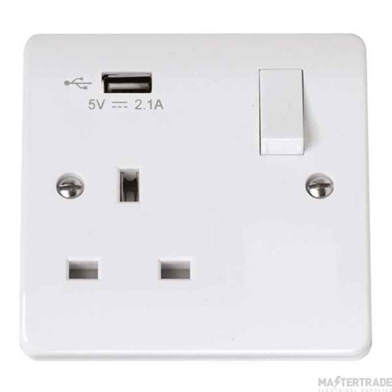 Click Mode 13A 2.1A Socket 1 Gang Switched c/w USB Outlet White CMA771U