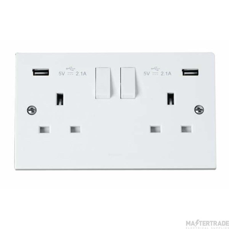 Click Polar Twin USB Double Switched Socket PRW780