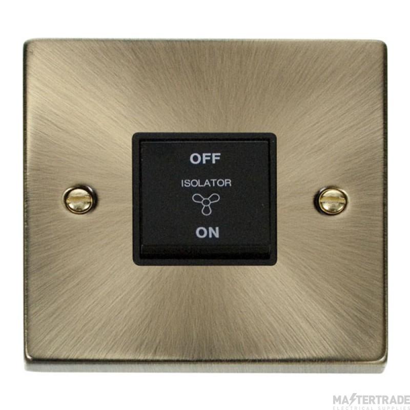 Click Deco Antique Brass 3 Pole Fan Isolator Switch VPAB020BK