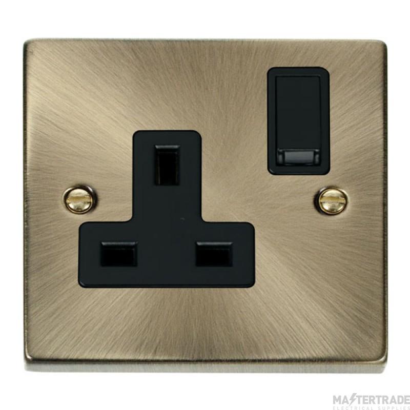 Click Deco Antique Brass 13A Single Switched Socket VPAB035BK
