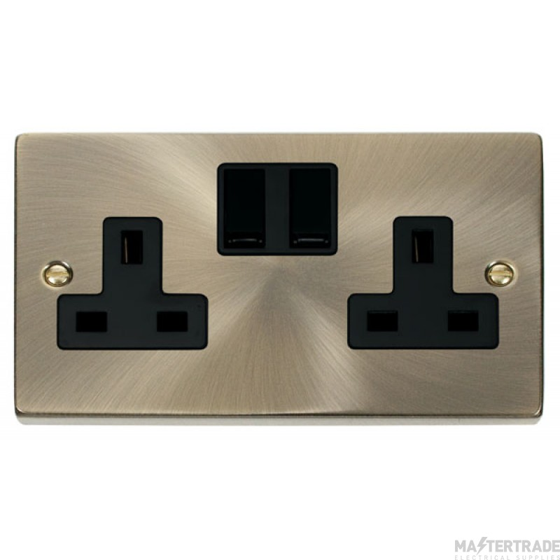 Click Deco Antique Brass 13A Double Switched Socket VPAB036BK