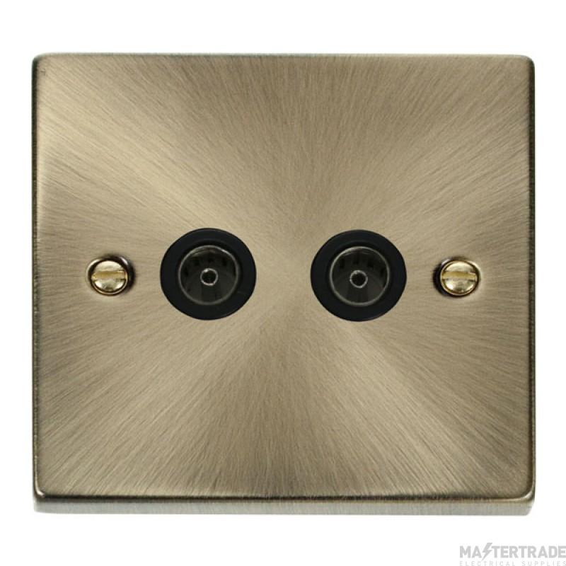 Click Deco Socket CoAxial Twin Antique Brass VPAB066BK