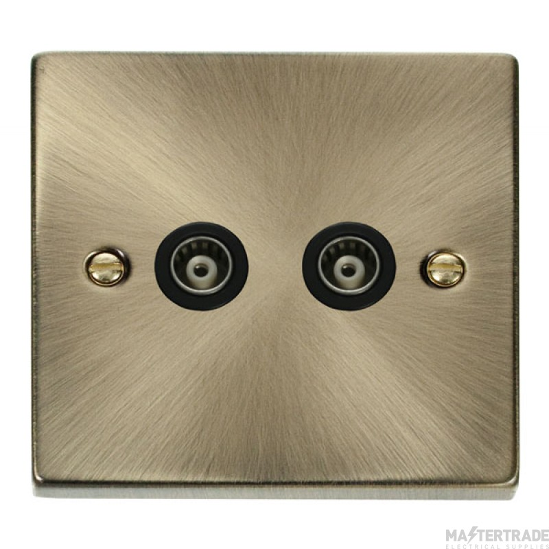 Click Deco Antique Brass Twin Isolated Coaxial Socket VPAB159BK