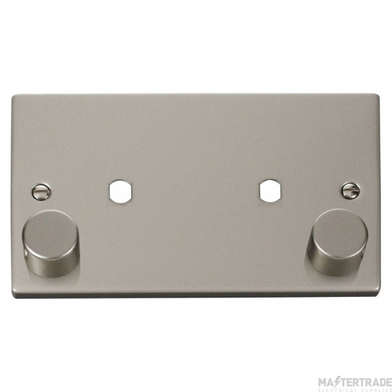 Click Deco Pearl Nickel Twin Dimmer Plate 1630W Max VPPN186