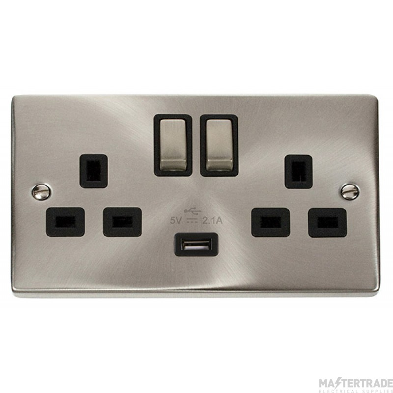 Click Deco 13A 2.1A Socket Ingot 2G Switched c/w USB Outlet Satin Chrome VPSC570BK