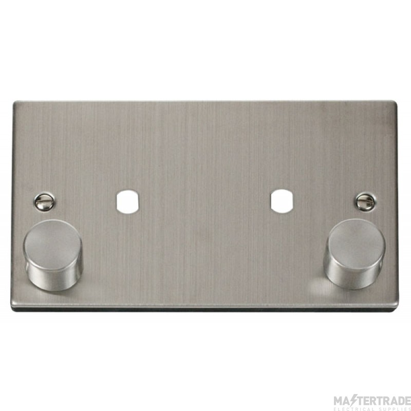 Click Deco Stainless Steel Twin Dimmer Plate 1630W Max VPSS186