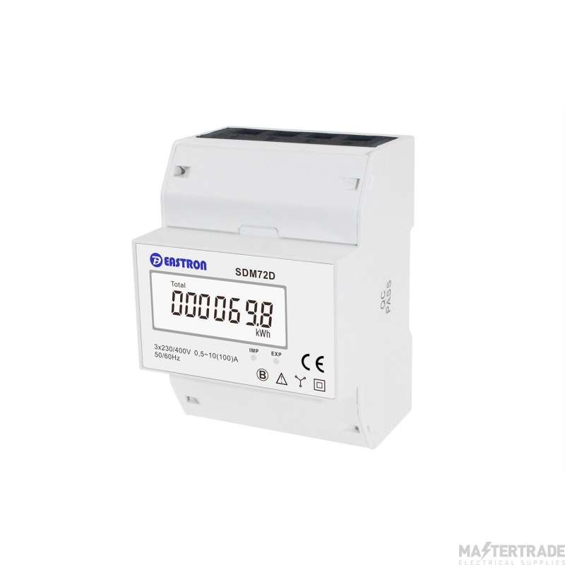 Three Phase, MID 100A, Direct Connected, Digital kWh Meter with Pulsed Output