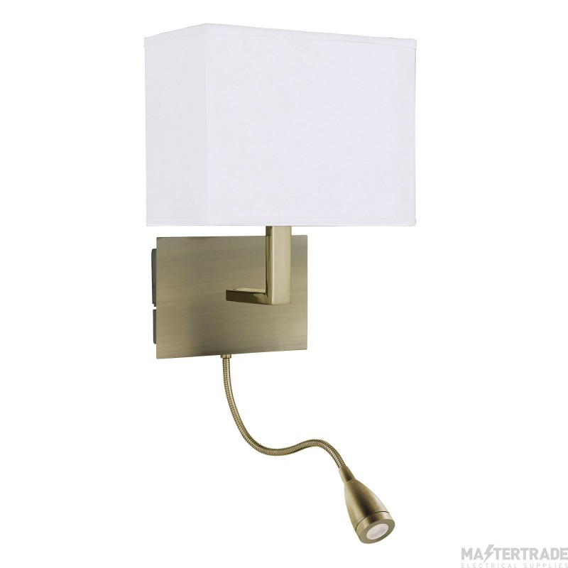 Searchlight 6519AB Antique Brass Wall Light With Shade And LED Reading Light