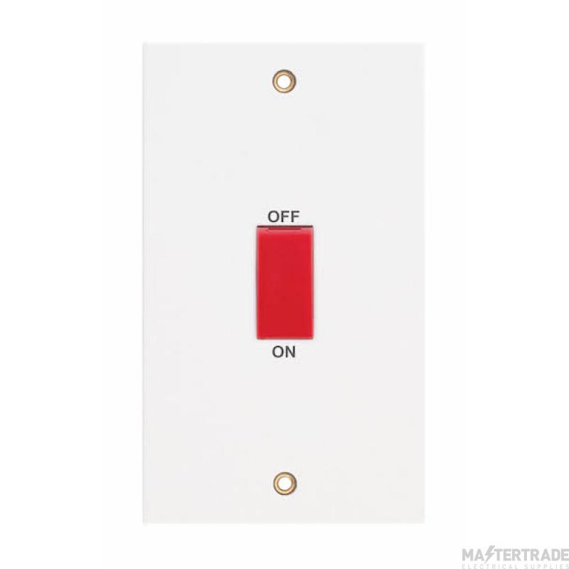 Selectric LGA 45 Amp DP Switch - 2 Gang Plate - Red Rocker