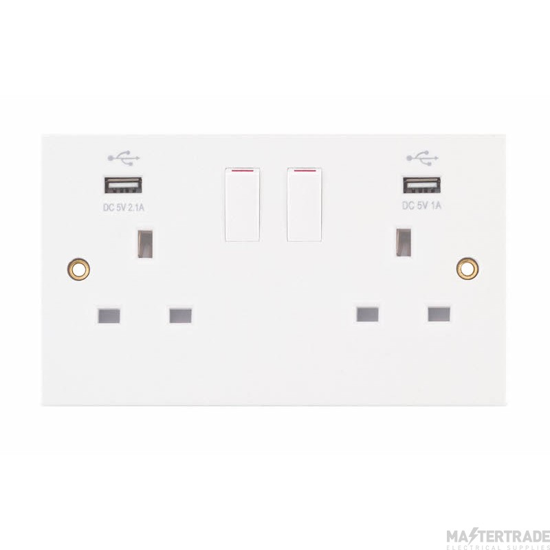 Selectric LGA White 13A Socket 2 Gang c/w 2 USB Outlets 2.1A/1A SQ-USB-3