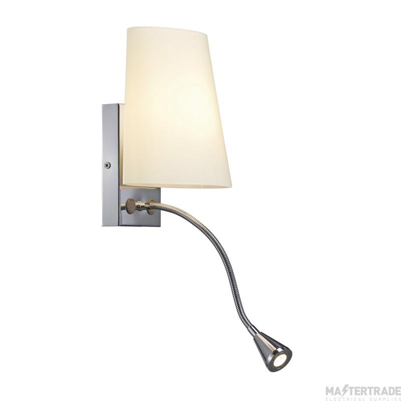 SLV 149452 COUPA FLEXLED wall light, chrome, frosted glass, 1xG9 max. 40W, 3W LED, 3000K