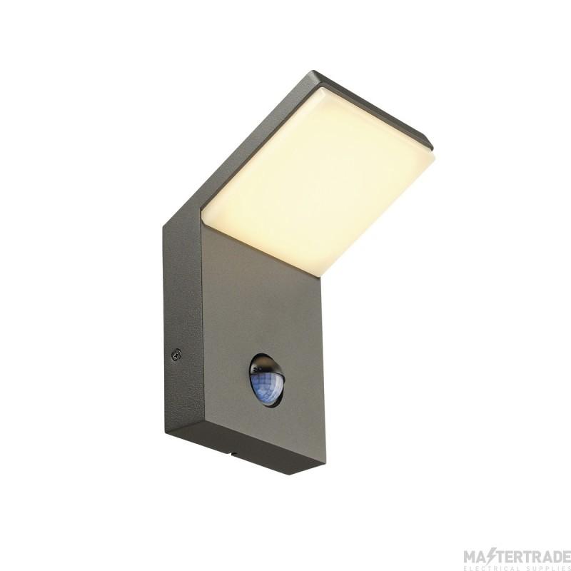 SLV ORDI LED wall light, anthracite, SMD LED, 3000K, IP44, with motion sensor